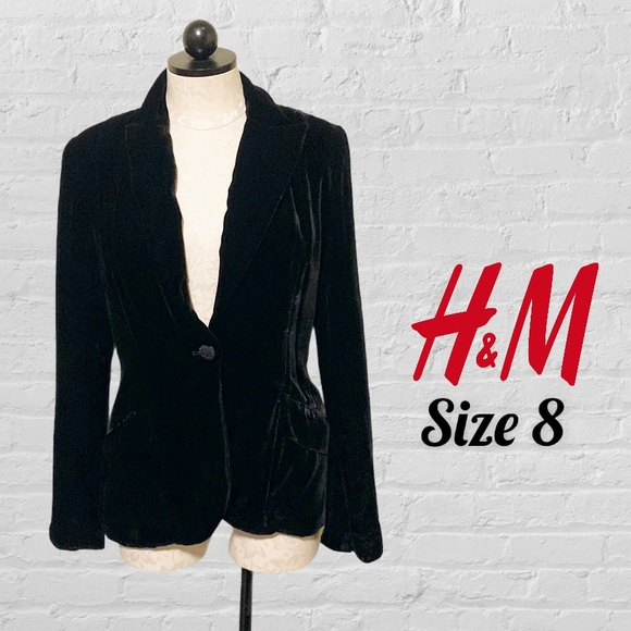 H&M Black Velvet Blazer US Size 8